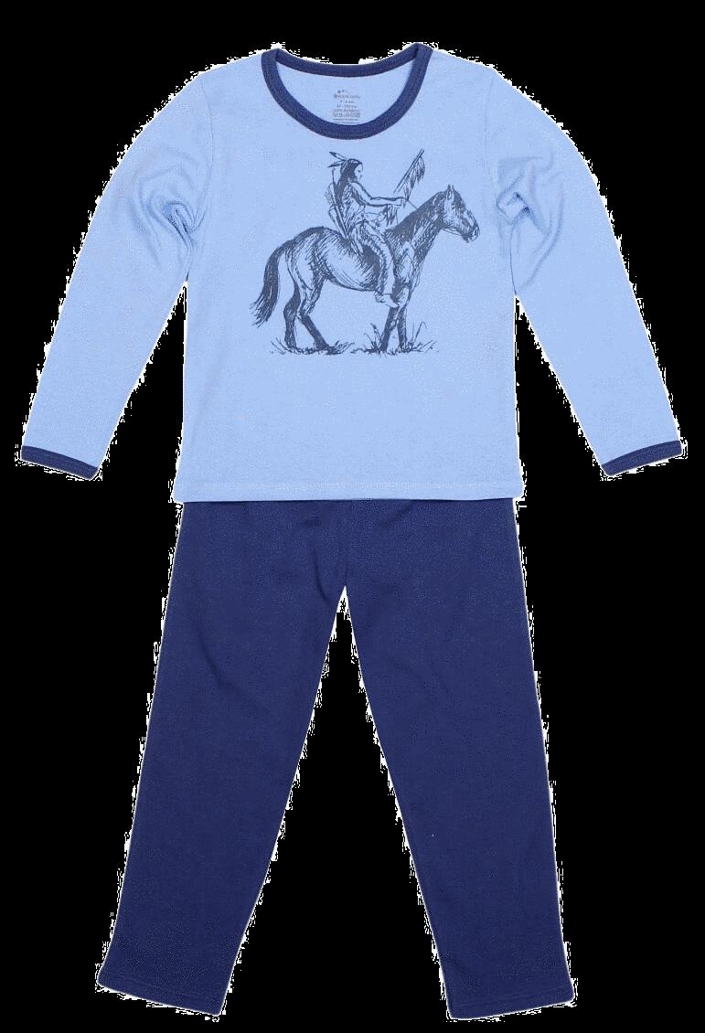 Pijama bebe, cu maneca lunga, bicolora (bleu cu denim)
