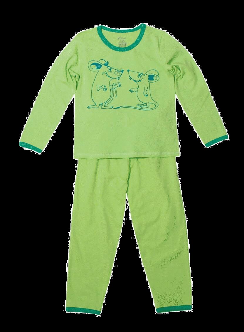 """Pijama copii, cu maneca lunga, verde-fistic """"soricei la taifas"""""""