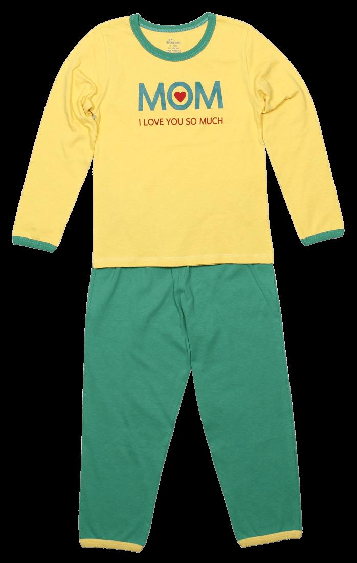 Pijama bebe, cu maneca lunga, bicolora (galben cu verde)