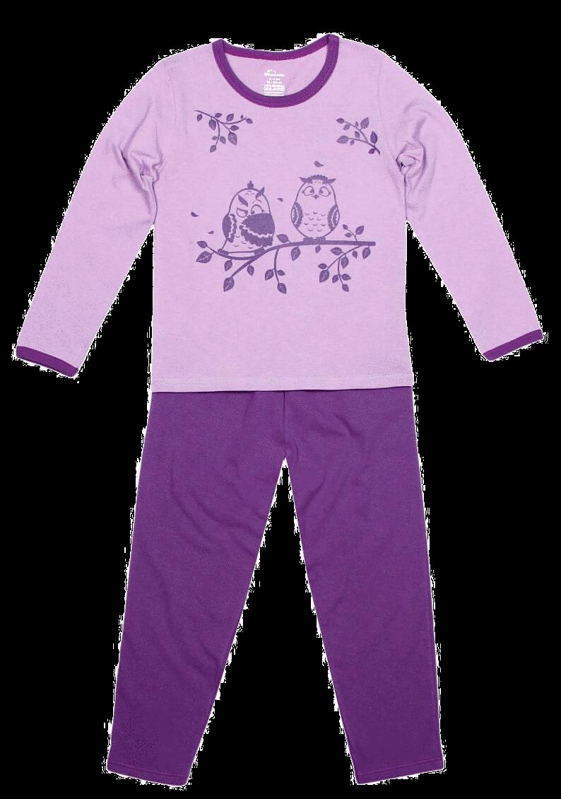 Pijama bebe, cu maneca lunga, lila cu mov