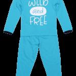 "Pijama bebe, cu maneca lunga, turqois ""wild and free"""