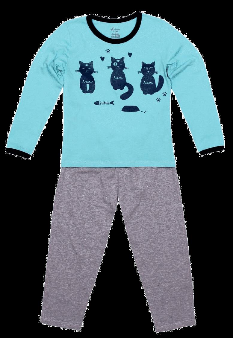 Pijama bebe, cu maneca lunga, bicolora (bleu-aqua cu gri melange)