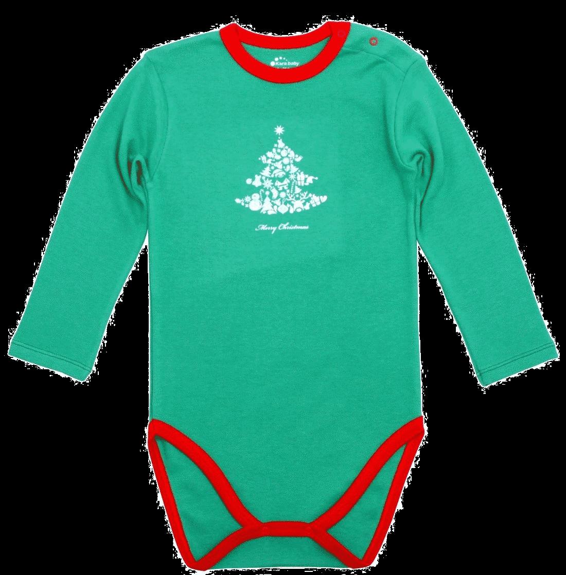 """Body Copii Verde Cu Garnituri Rosii, """"bradut Cu Cadouri"""""""