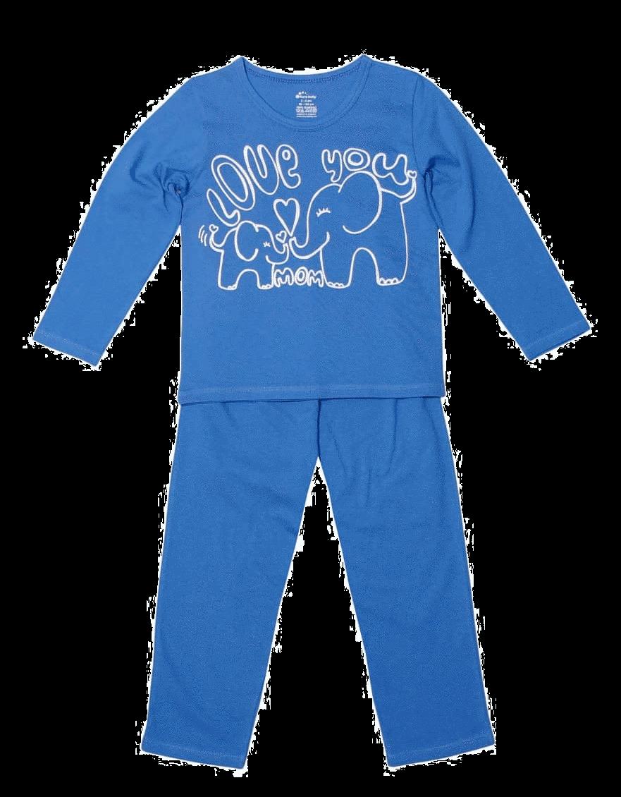 """Pijama bebe, cu maneca lunga, albastra, """"elefanti"""""""