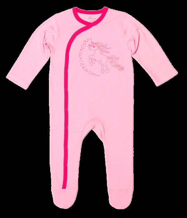 """Salopeta bebe cu maneca lunga, roz, """"unicorn"""""""