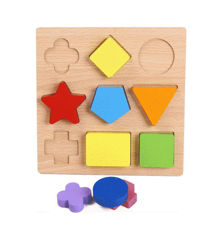 Puzzle din lemn, in relief, forme geometrice