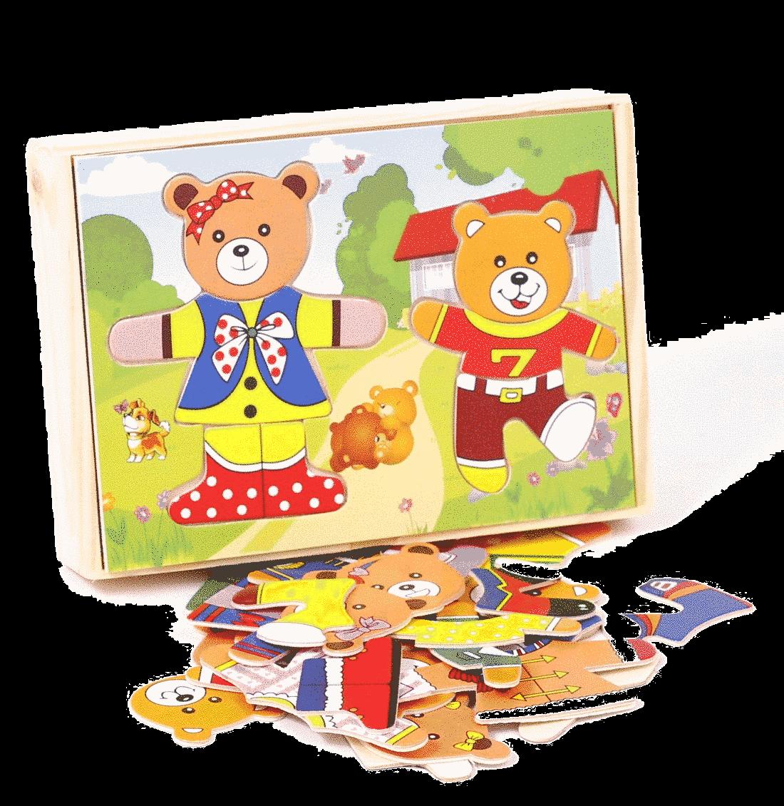 Puzzle lemn-ursi joc asociere